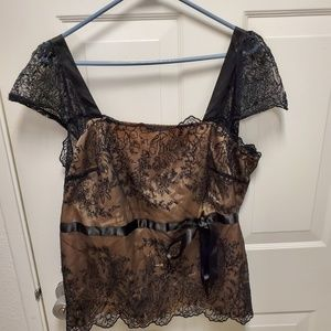 Black lace top with cute bow